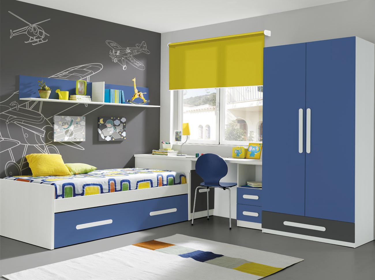 Dormitorio juvenil cama nido for Dormitorios juveniles con escritorio incorporado