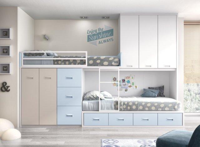 Muebles paco caballero dormitorio juvenil - Habitaciones juveniles 2 camas ...