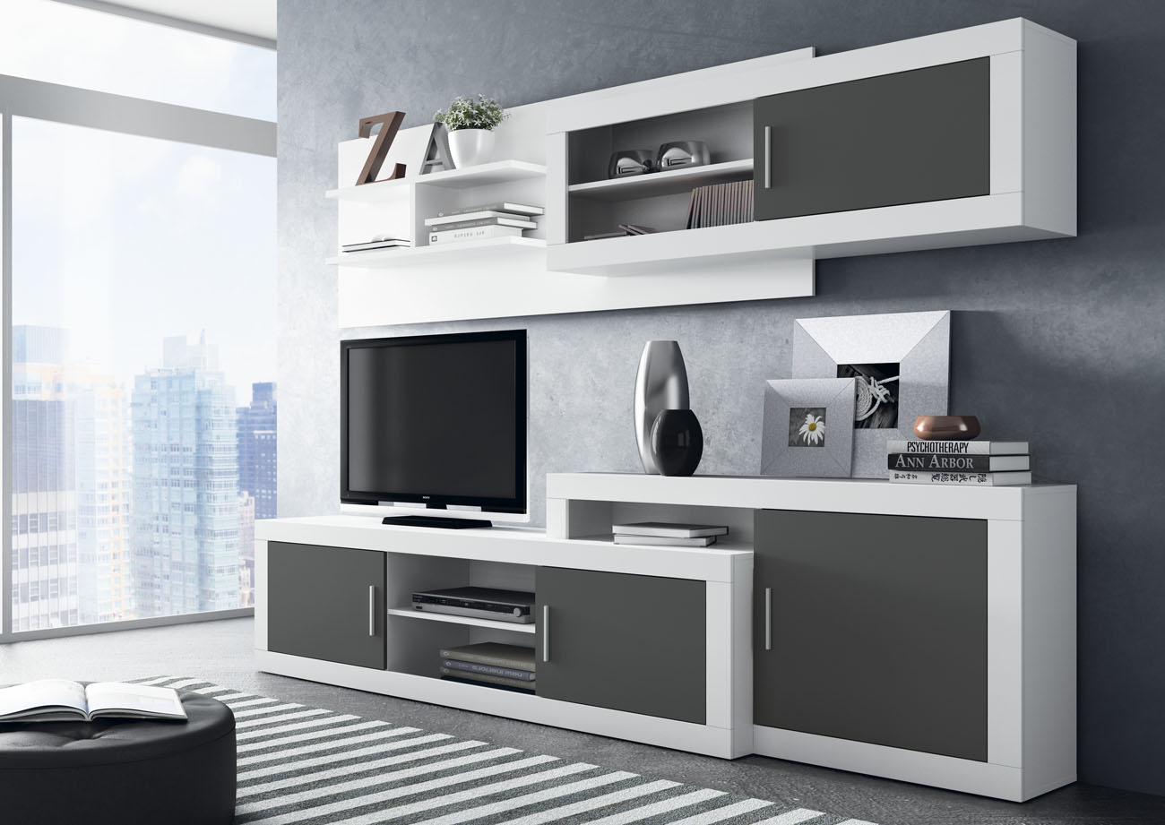 Mueble de comedor moderno blanco y grafito for Muebles de comedor modulares