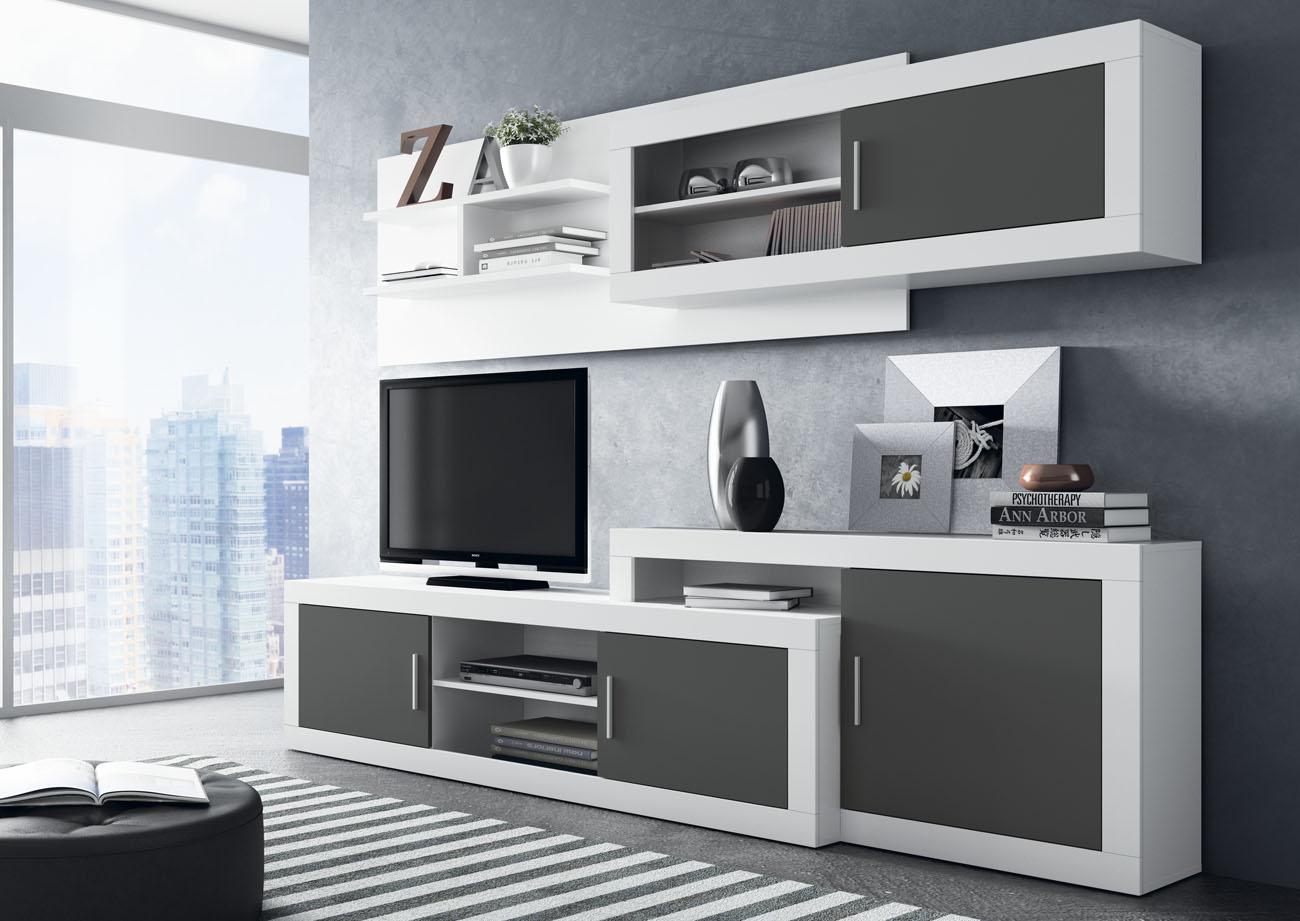 Mueble de comedor moderno blanco y grafito for Muebles modernos para cocina comedor