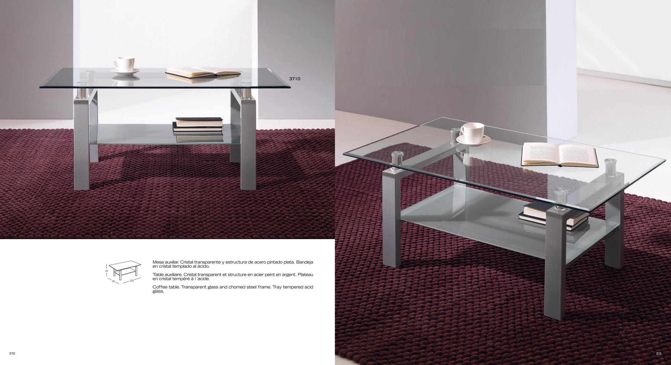 Mesa de centro de cristal y acero - Mesitas auxiliares de cristal ...