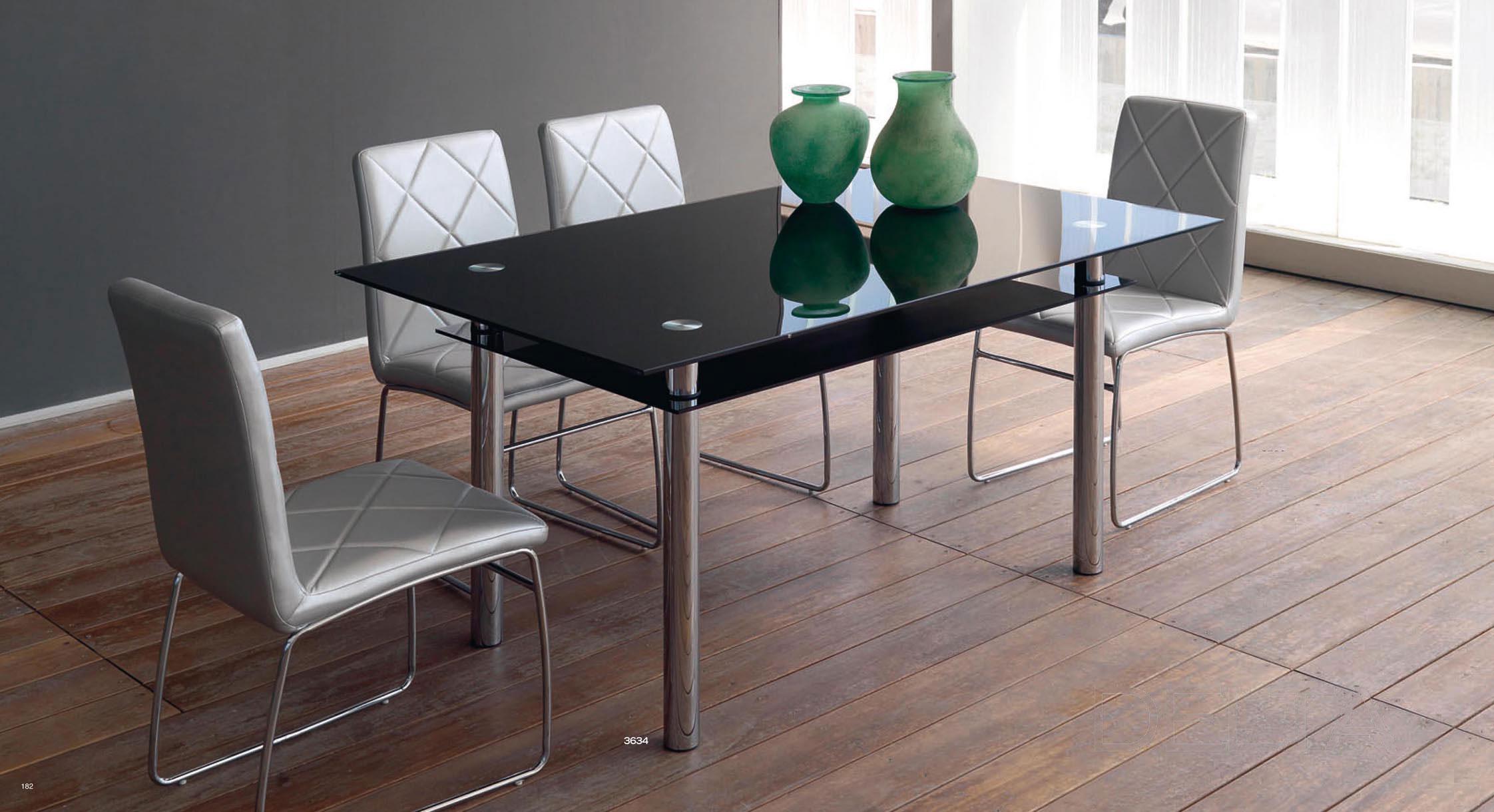 Mesa de comedor de cristal negro