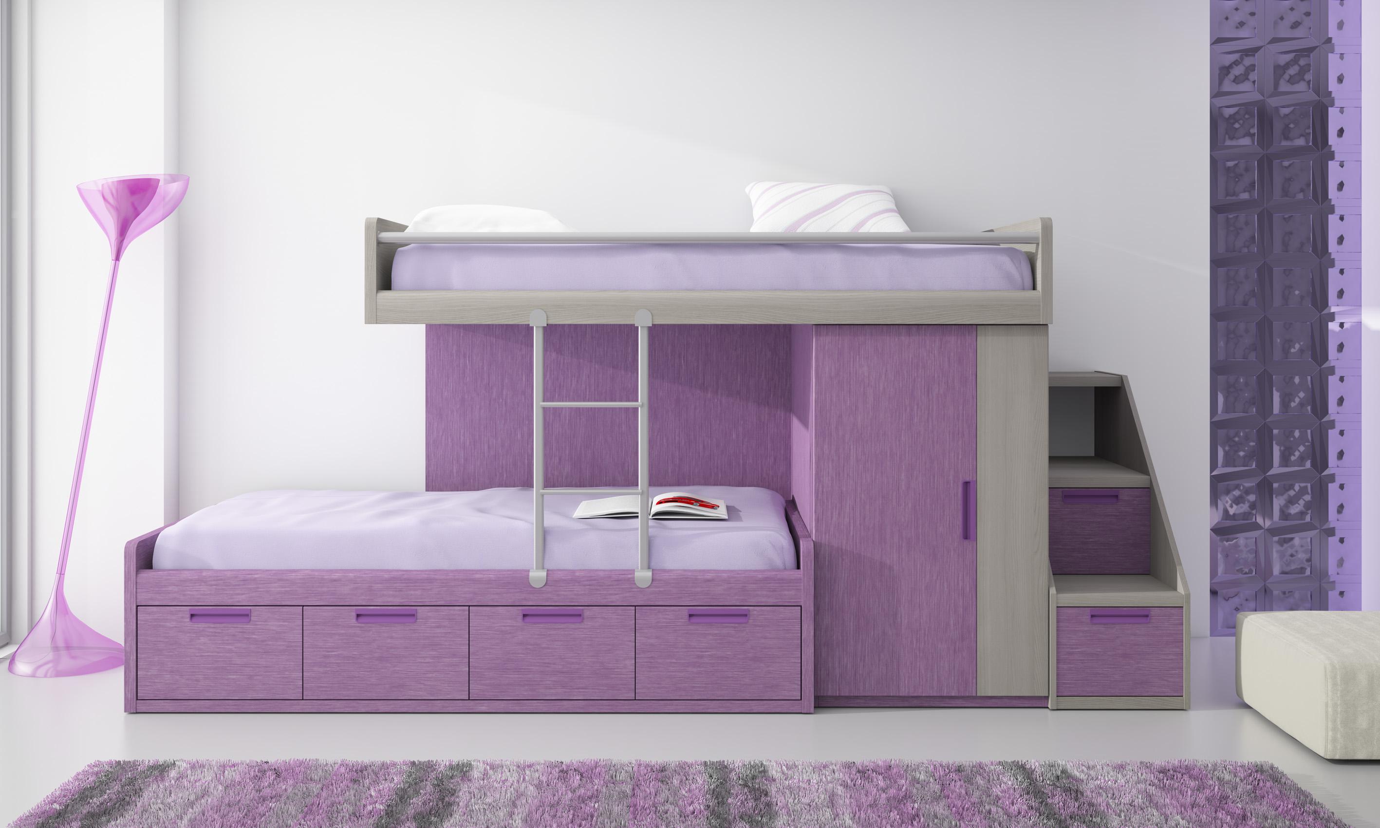 Muebles paco caballero dormitorio juvenil for Camas tren juveniles