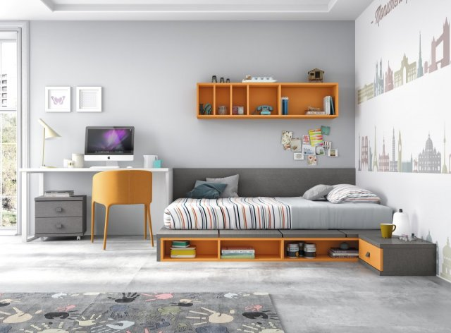 Muebles paco caballero dormitorio juvenil for Habitaciones juveniles cama 135